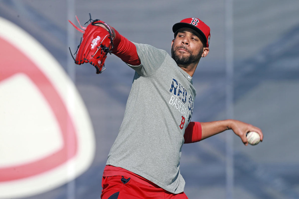 (Fort Myers , FL, 02/17/16) Boston Red Sox starting pitcher David Price warms up during Spring Training at JetBlue Park  on Wednesday,  February  17, 2016.  Staff photo by Matt Stone